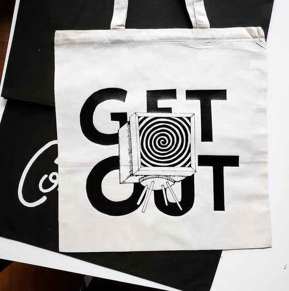 "Handmade Timmy J. Doston ""Get Out"" Tote Bag - Hand Drawn Get Out Tote Bag - Hand Drawn Timmy J. Dotson Tote Bag"