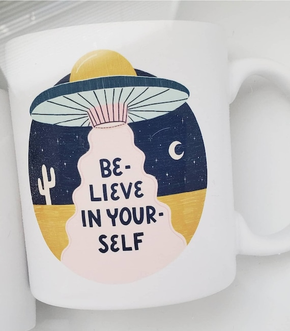 "Handmade JaneyMakes ""Believe In Youself"" Coffee Cup - Handmade Positive Affirmation Mug - Hand Drawn ""Believe In Yourself"" Mug"