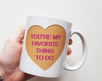 Custom Conversation Heart Coffee Mug - Handmade Candy Heart Coffee Cup - Valentine's Day Mug