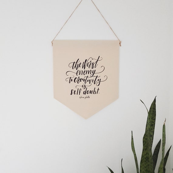 "Handmade Jordanne Marie ""Worst Enemy- Self Doubt"" Hand Lettered Wall Banner - Handmade Custom Wall Hanging - Sylvia Plath Wall Banner"