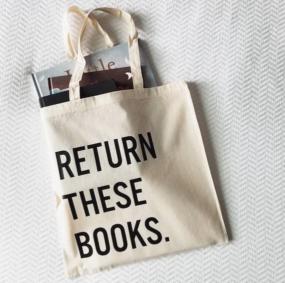 "Handmade ""Return These Books"" Tote Bag - Custom Tote Bag - Library Bag - Custom Library Tote Bag"