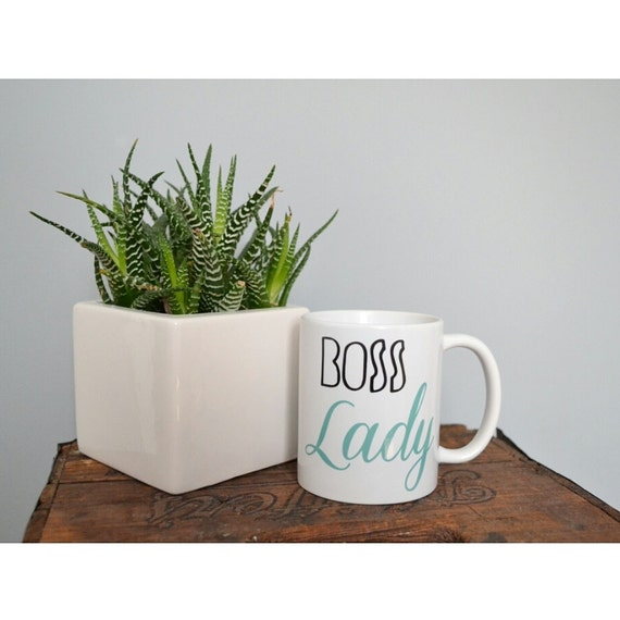 "Handmade ""Boss Lady"" Coffee Mug - Custom Handmade Coffee Cup"