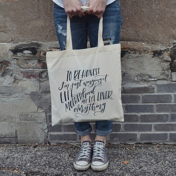 "Handmade Jordanne Marie ""Wingin' It"" Tote Bag - Hand Lettered Canvas Tote - Custom Motherhood Tote Bag"