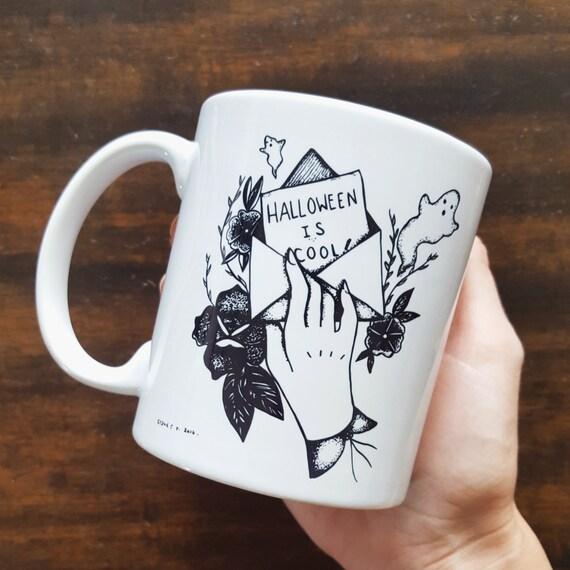 "Handmade Sydney Tokarsky ""Halloween is Cool"" Coffee Mug - Hand drawn Halloween Coffee Cup - Handmade Halloween Coffee Cup"