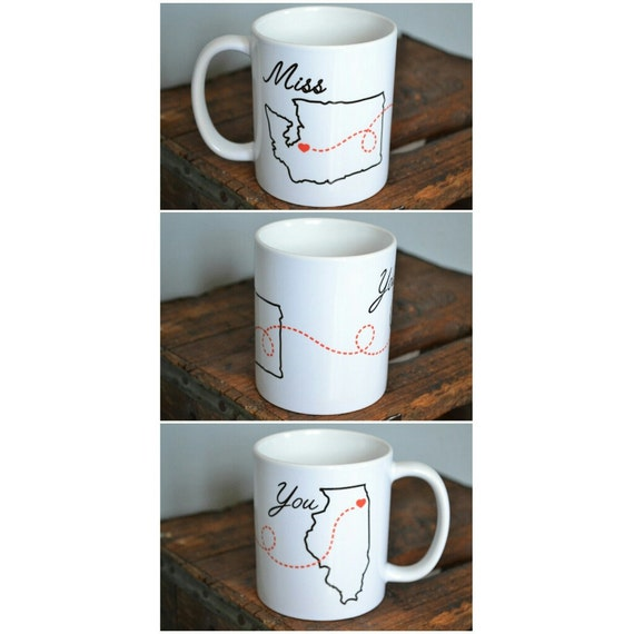 "Handmade ""Miss you"" Personalized State Mug - Custom Handmade Coffee Mug"