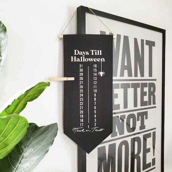 Handmade Halloween Advent Calendar Banner - Handmade Halloween Countdown Sign - Custom Halloween Wall Banner