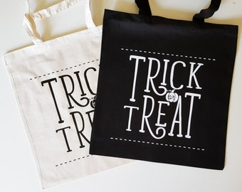 """Handmade Nicole Colinarez """"Trick or Treat"""" Tote Bag - Hand Lettered Canvas Tote Bag - Halloween Candy Bag - Handmade Trick Or Treat Bag"""
