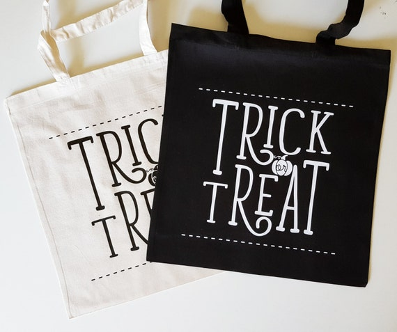 "Handmade Nicole Colinarez ""Trick or Treat"" Tote Bag - Hand Lettered Canvas Tote Bag - Halloween Candy Bag - Handmade Trick Or Treat Bag"