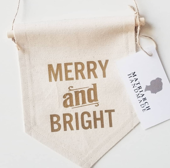 "Handmade ""Merry and Bright"" Wall Hanging - Custom Wall Banner - Fabric Custom Wall Hanging - Christmas Banner - Christmas Wall Decor"