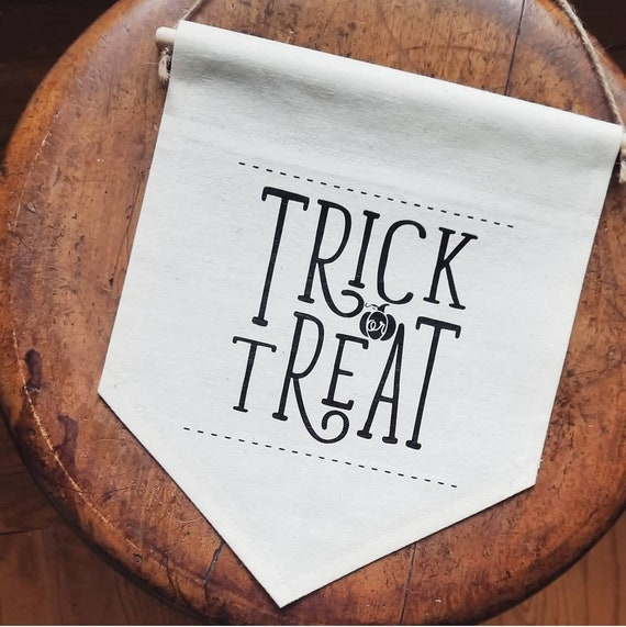 "Handmade Nicole Colinarez ""Trick or Treat"" Hand Lettered Wall Banner - Handmade Custom Wall Banner - Custom Wall Hanging"