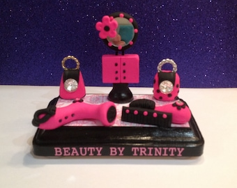 Hair stylist business card holder etsy quick view polymer clay business card holder reheart Image collections