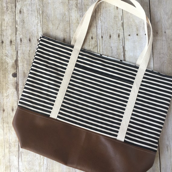 Stripe Tote Bag Tote Bag With Pockets Large Canvas Tote Etsy