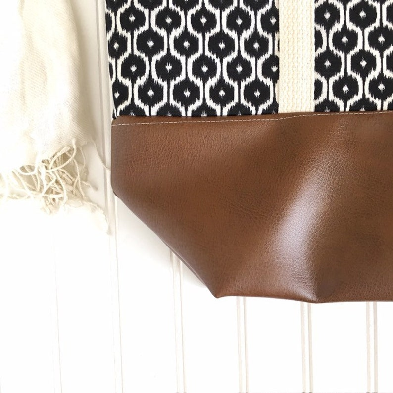 Tote Bag Canvas Tote Bag Tote Bag with Zipper Large Canvas Tote Bag Tote Bag with Pockets Tote Bag evjf Black patterned Tote Bag
