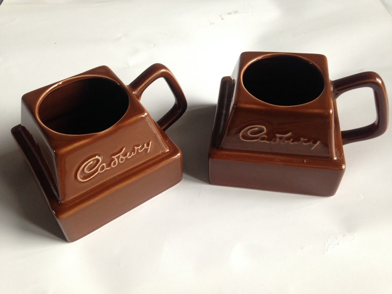 Vintage Collectable Cadburys Hot Chocolate Chunk Mugs 1970s Rare
