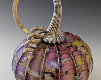 Lime and violet cobblestone Jack Pine glass pumpkin