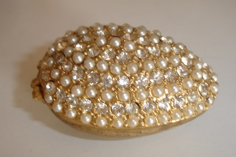 gift for her collectible rhinestone and faux pearls vintage pill box collector/'s gift gift for mother bejeweled pill box PIll box