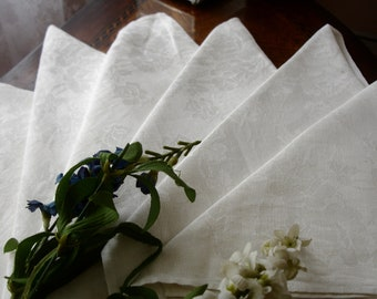 Napkins, Linen Damask Banquet napkins, Lapkins, Set of 6, Irish linen napkins, Damask napkins, Fine dining, white napkins, wedding gift,