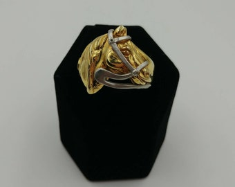 Vintage 14k Gold Horse Head with Bridle Ring