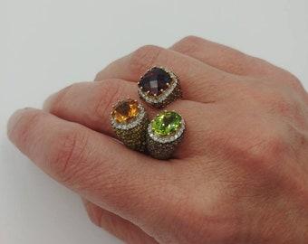 LeVian 14k Gold, Diamonds and Gemstones, Statement Ring