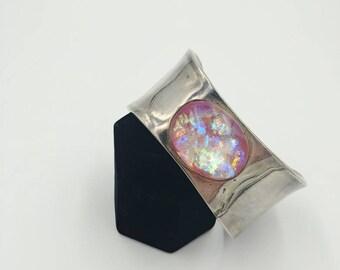 Vintage Sterling Silver Pink Foil Glass Cuff Bracelet
