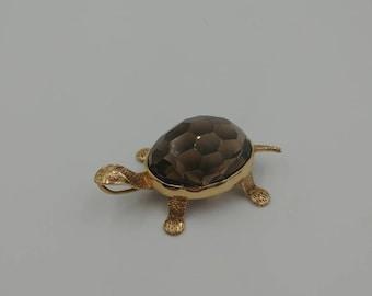 Gorgeous 14k Turtle Pendant, Smokey Quartz