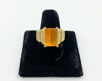 Laura Ramsey 14k Gold Orange Fire Opal Ring