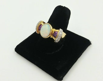 Laura Ramsey 14k Gold Opal Ring with Diamonds and Amethyst