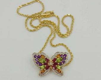 Gorgeous Vintage 14k Gold Necklace Diamonds, Rubies, Amethyst, Peridot and Citrine!