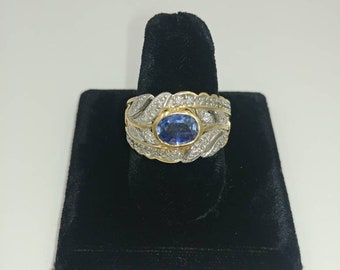 Vintage 14k Gold Ring with Diamonds and Blue Gemstone
