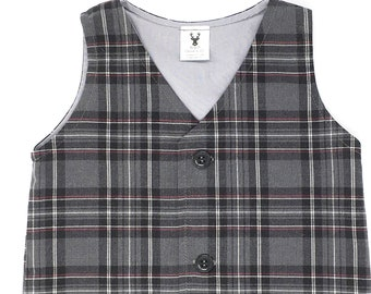Grey Plaid Vest, Plaid Vest, Boys Grey Vest, Baby Boy Vest, Boys Gray Vest, Vest, Grey Vest for Boys, Toddler Grey Vest, Ring Bearer Outfit