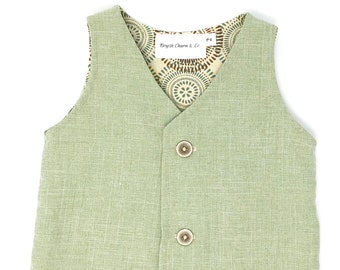 Boys Sage Green Vest, Toddler Sage Green Vest, Boys Green Vest, Beach Wedding Outfit, Page Boy Outfit, Ring Bearer Outfit, Boyish Charm