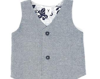 Boys Grey Herringbone Wedding Vest, Grey Herringbone Vest, Boys Grey Herringbone Vest Toddler Gray Vest, Baby Formal Vest Ring Bearer Outfit