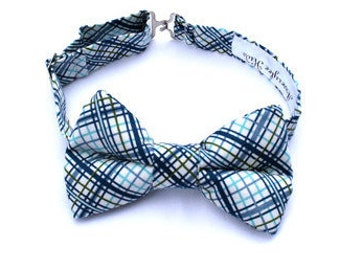 Boys Navy Plaid Bow Tie Boys Blue Plaid Bow Tie Toddle Navy Bow Tie Toddler Bow Tie  Ring Bearer Outfit Rustic Wedding Bow Tie Boyish Charm