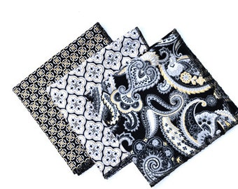 Pocket Square, Black and Gold Pocket Square, Paisley Pocket Square, Men's Pocket Square, Men's Handkerchief, Boy's Pocket Square, Groomsmen