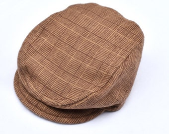 Boys Brown Plaid Newsboy Hat, Toddler Flat Cap, Baby Newsboy Hat, Baby Driving Cap, Family Photo Outfit, Page Boy Outfit