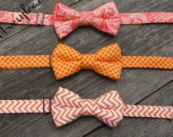 Boys Bow Tie, Toddler Bow Tie, Boys Orange Bow Tie, Mens Orange Bow Tie, Newborn Photo Prop, Ring Bearer outfit, Beach Wedding Outfit,