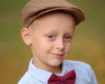 Boys Golden Brown Tweed Newsboy Hat, Newsboy Cap Boys, Toddler to Teen, Brown Herringbone Newsboy Hat, Driving Cap, Boys Golf Hat