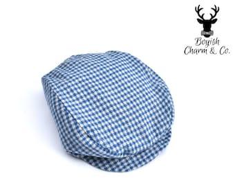 Blue Grey Check Flannel Newsboy Hat, Newsboy Cap Boys, Toddler to Teen, Grey Newsboy Hat, Driving Cap, Boys Golf Hat