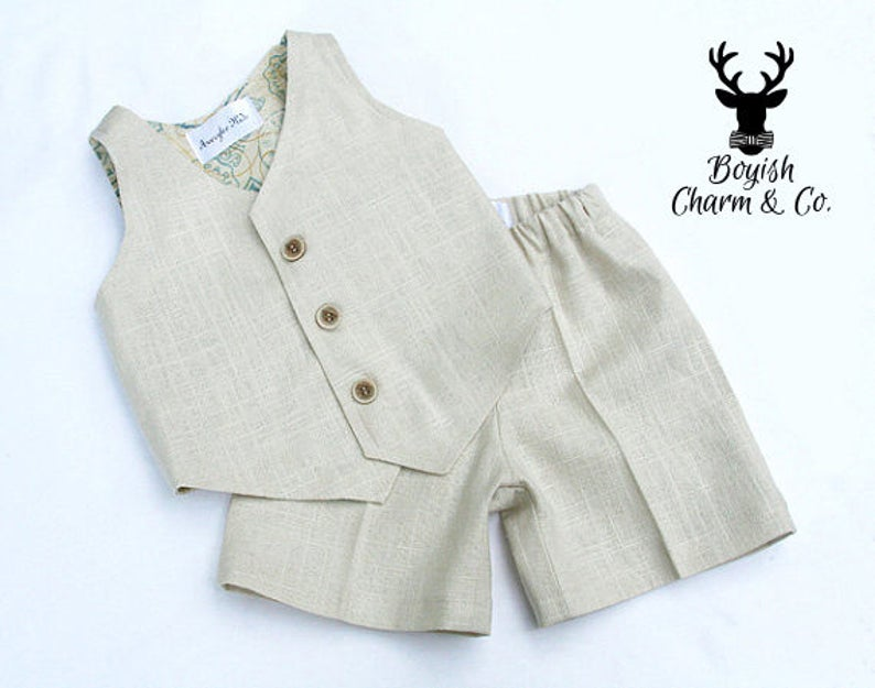 The Avery Boys Linen Suit Ring Bearer Outfit Formal Wear image 0