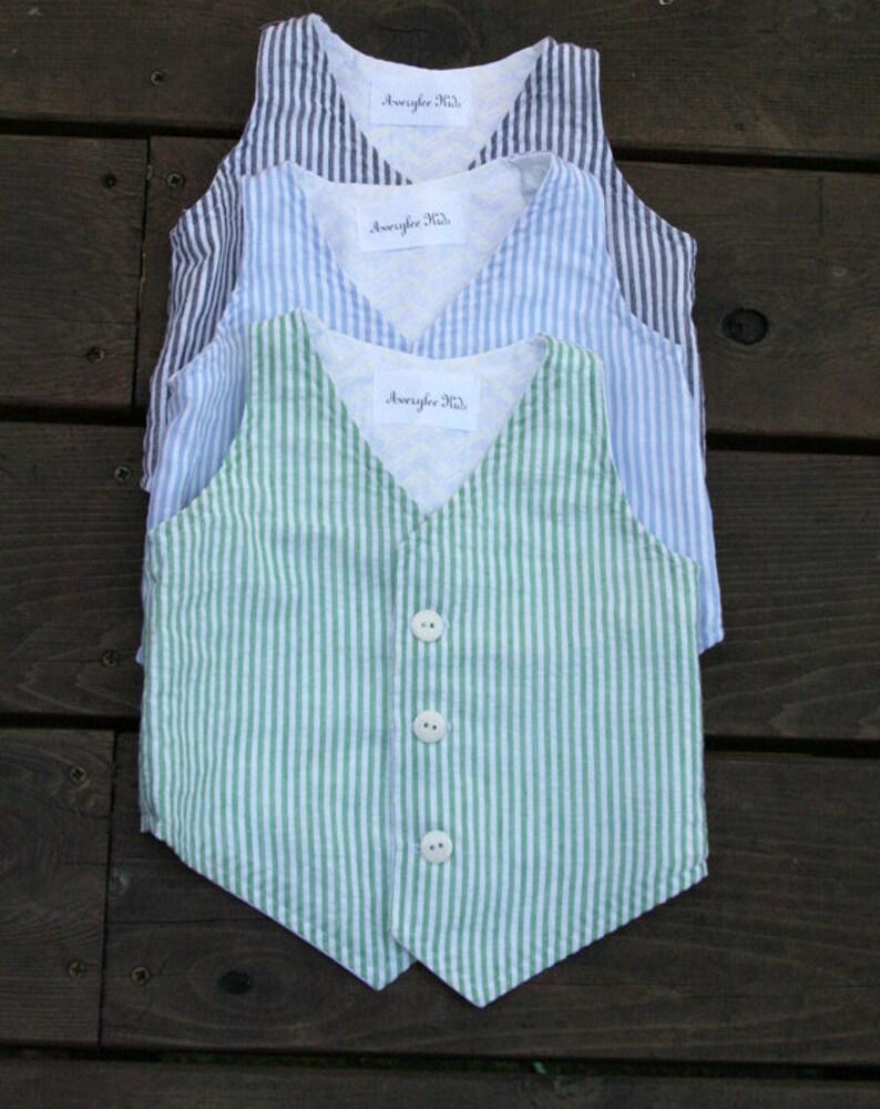 0560de96418 Boys Blue Seersucker Vest Easter Boys Green Vest Toddler