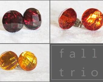 Fall Stud Earring - Red - Orange - Yellow