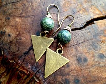 Tribal Triangle Earrings - Serpentine