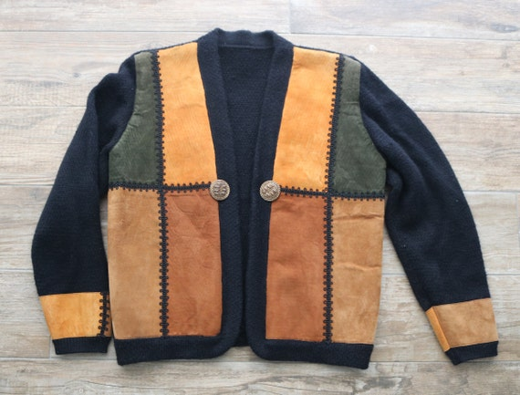 Suede Patch-Work Sweater