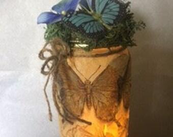 A Garden print luminary jar