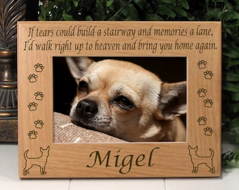 FREE SHIPPING - Chihuahua If Tears Poem Dog Memorial Frame