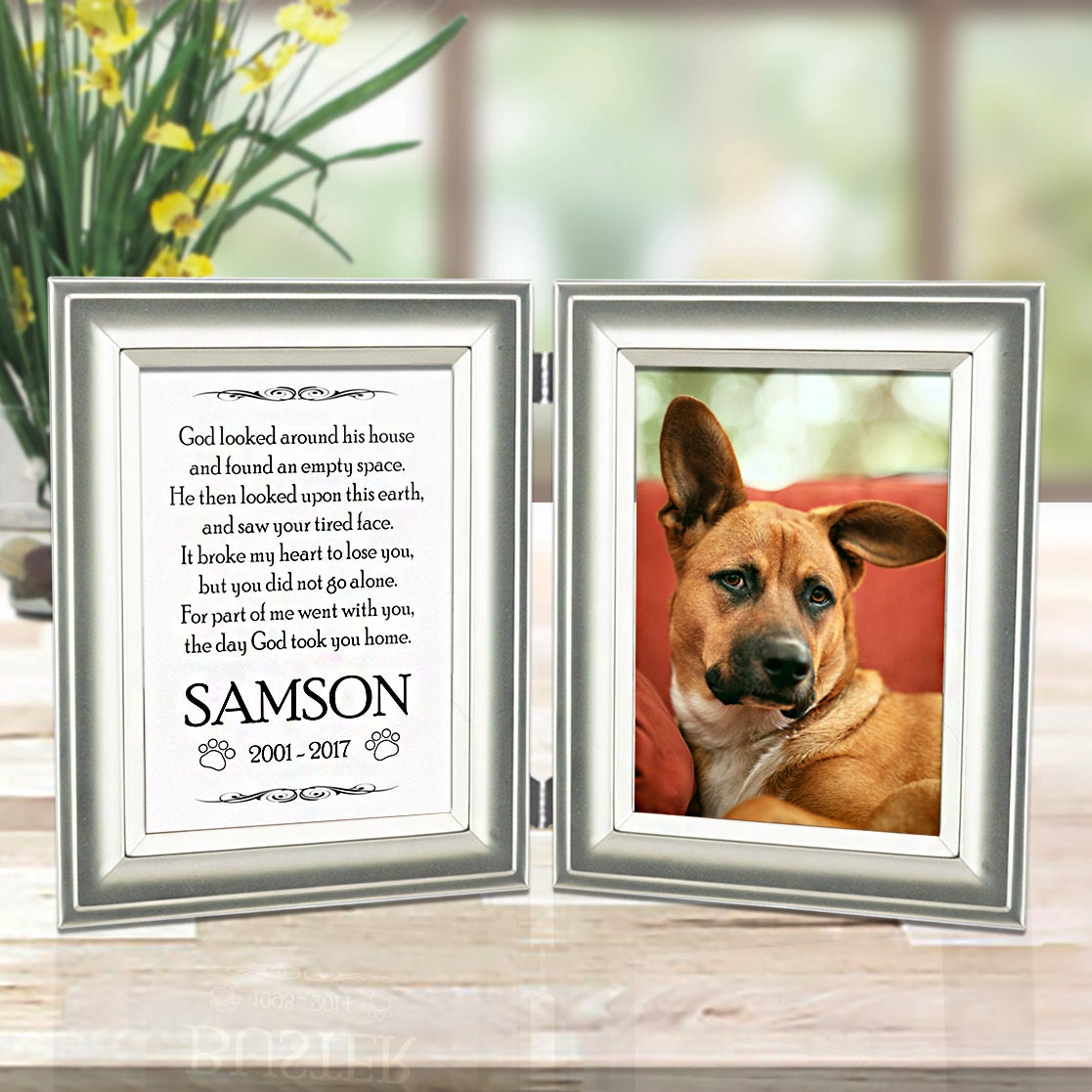 Dog Memorial Frame Personalized Name Engraved On Metal