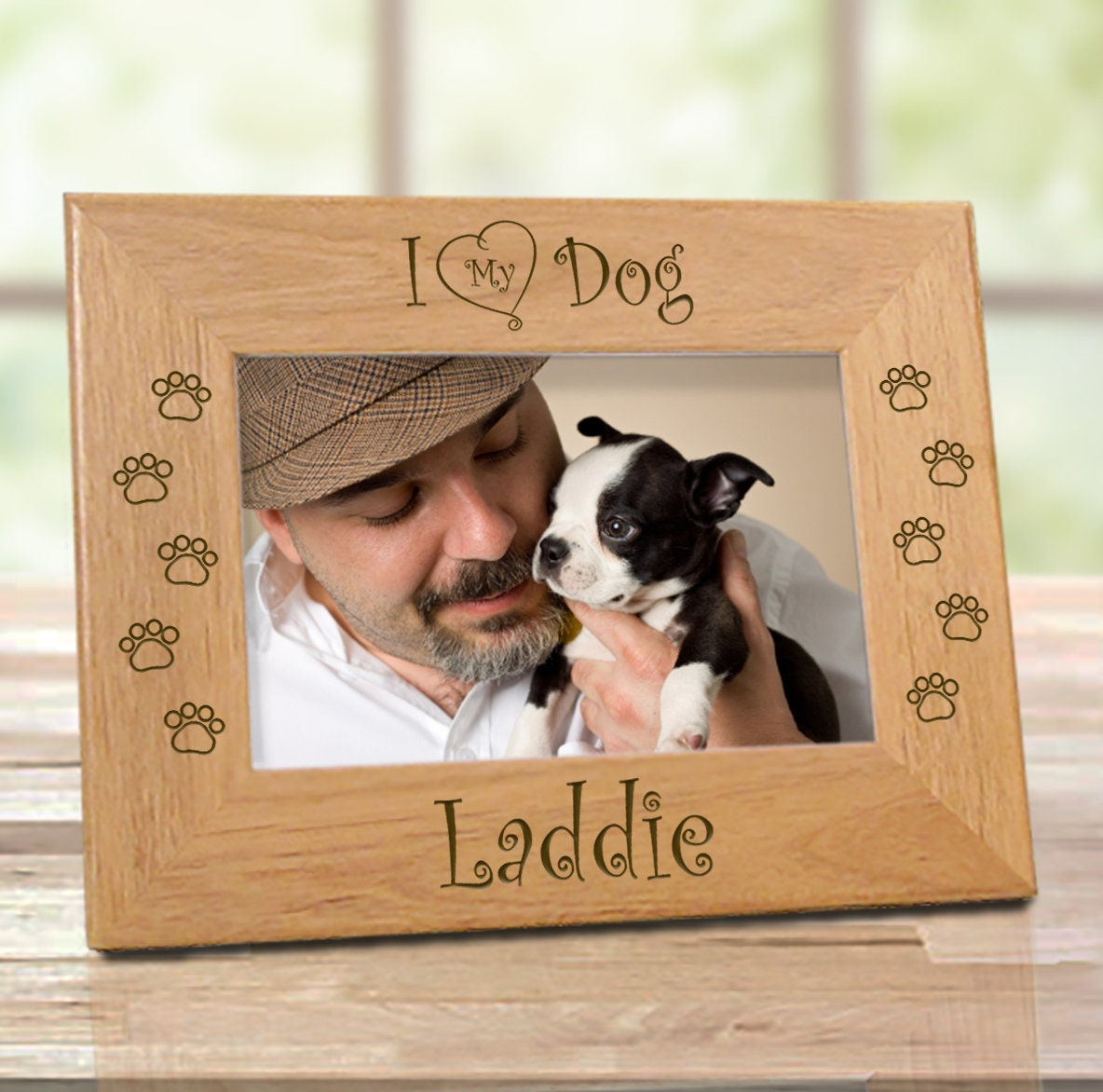 Best Dog Ever Add Pet Name-Personalized Custom Picture Frame Engraved Wood Dog Picture Frame,Dog Memorial Picture Frame,Dog Lover Gift,Dog Birthday,Dog Dad,Dog Mom,Best Puppy Gift 4x6 Horizontal