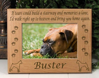 FREE SHIPPING - Boxer - Dog Memorial Frame - If Tears Could Build A Stairway Poem - Dog Paws