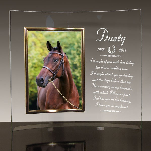 Horse Memorial - Personalized With Name - Curved Glass Picture Frame - Choice Of Memorial Poems - Free Sympathy Card
