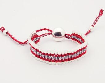 Link Friendship Bracelet - Red Silver Strips - (One Direction)